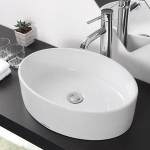 "Aquaterior 19"" Oval Bathroom Porcelain Sink w/ Drain"