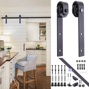 Yescom 6.6 ft Sliding Barn Door Hardware Kit Track Coffee I Style