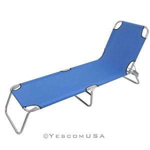 Adjustable Camping Cot Travel Folding Bed Blue