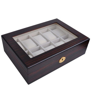 Yescom 10-Slot Ebony Matte Finish Wood Watch Display Case