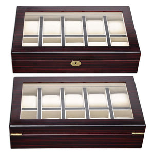 Yescom XL Wood Watch Display Case 10-Slot Jewelry Display Case