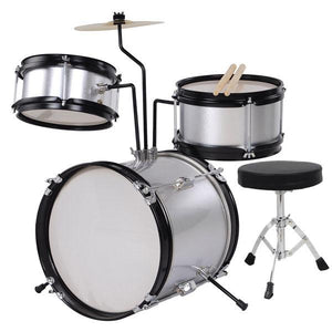 3pcs 8inch Junior Kids Drum Set Silver w/ Cymbal Drum Throne