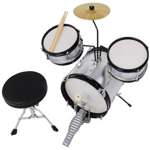 Yescom Junior Kids Drum Set Silver w/ Cymbal Drum Throne 3pcs 12inch