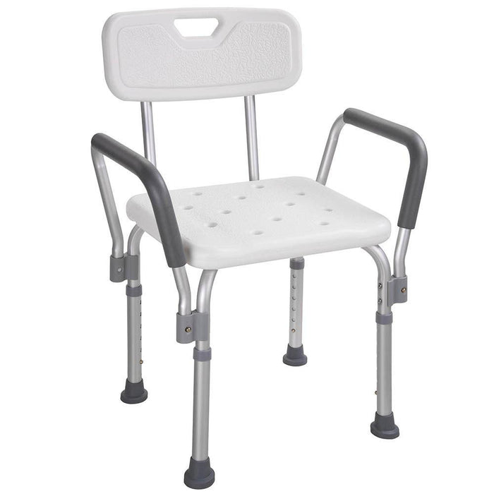 220 LBS Capacity Shower Stool Bath Chair w/ Armrest & Back