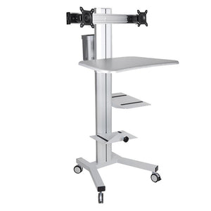 Office Furniture 2-Monitor PC Mobile Cart Workstation Gray