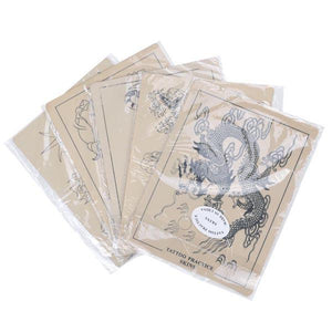 Yescom Pre-printed Tattoo Practice Skin for Tattooing 8x6 Inch 5 Pcs