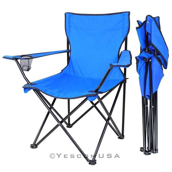 Outdoor Beach Fishing Camp Folding Chair w/ Holder Blue