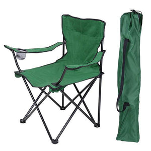 Outdoor Beach Fishing Camp Folding Chair w/ Holder Green