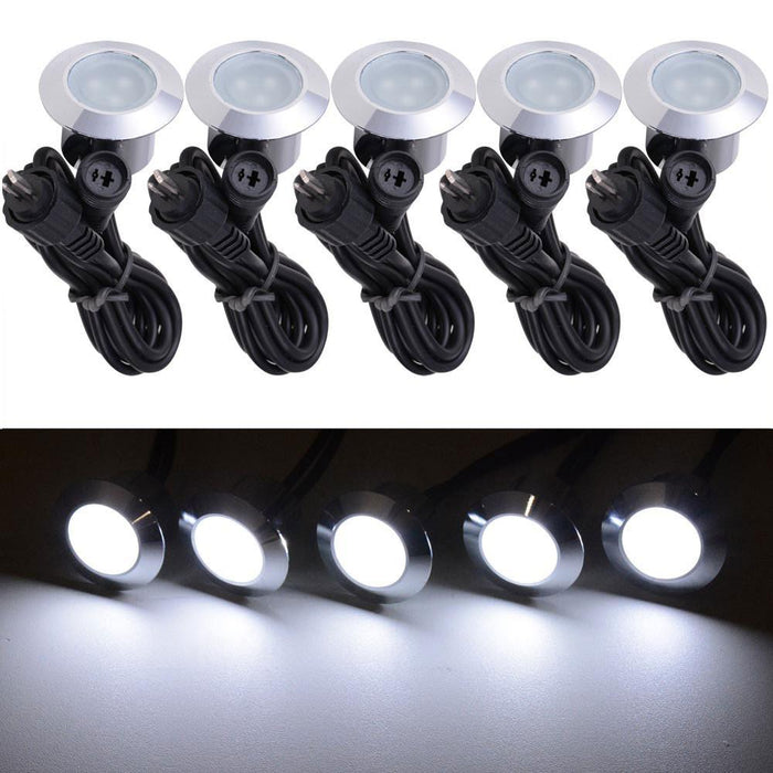 5Pack 12v Recessed LED Deck Light Fixtures Cool White