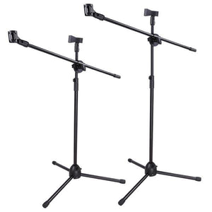 Adjustable Tripod Boom Microphone Stand w/ 2 Mic Clips