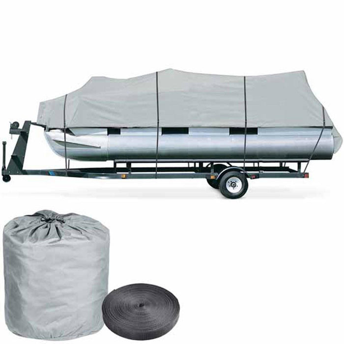 18'-20' Pontoon Watercraft Fish Ski Trailerable Boat Cover Gray