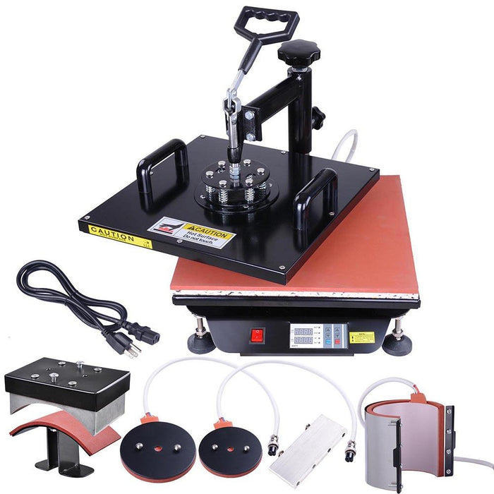 6in1 15x15 Digital Heat Press Sublimation Transfer Machine Black