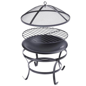 Yescom 22 inch Patio Garden BBQ Wood Burning Fire Pit with Cover