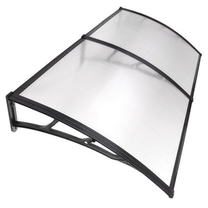 "LAGarden 78""x39"" Door & Window Awning Canopy Clear Polycarbonate Black"