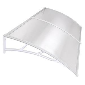 "LAGarden 78""x39"" Door & Window Awning Canopy Clear Polycarbonate White"