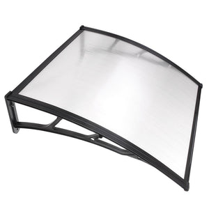 "LAGarden 39""x39"" Door & Window Awning Canopy Clear Polycarbonate Black"