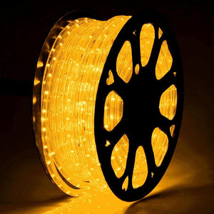 DELight Holiday Lighting LED Rope Light Spool 150ft Saffron