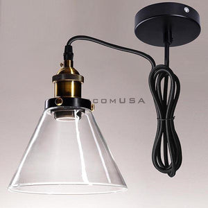 "7"" Modern Concise Clear Glass Cone Pendant Light Hanging Lamp"