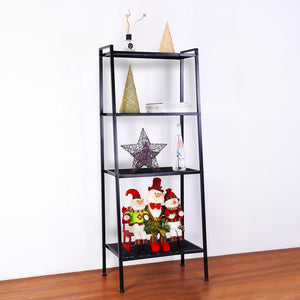 Yescom 4-Shelf Metal Ladder Book Shelf Open Bookcase Black