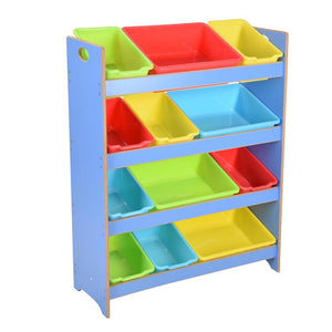 4-Tier Kids Toys Organizer Shelf 12-Bin Plastic Storage Blue