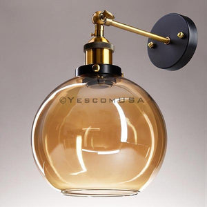 Yescom 7 9/10 in Vintage Amber Glass Globe Shade Wall Lamp 1 Light