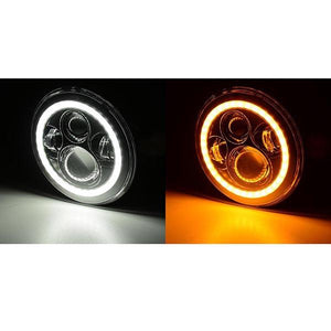 "2pcs 7"" Offroad Round LED Headlights Halo Eyes for Jeep"