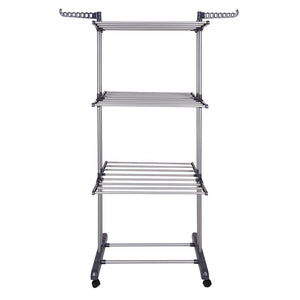 Yescom Laundry Folding Clothes Dryer Rack 3 Tiers w/ Casters Dark Gray