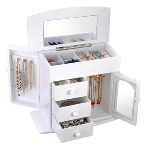 Jewelry Organizer Box with Mirror Necklace Earring Hook Color Opt