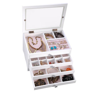 Yescom Jewelry Organizer Box with Clear Lid Ring Necklace Color Opt