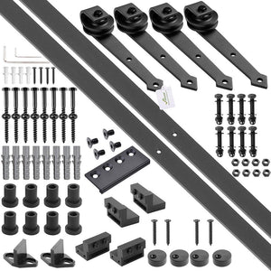 Yescom 12 ft Sliding Barn Hardware Track Kit 4-Rollers Arrow Style