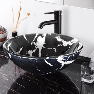 Yescom Round Glass Vessel Sink Bathroom Bowl Lavatory Basin Marbling