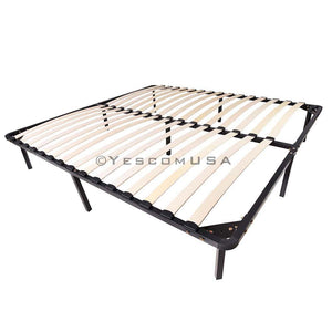 King 14 in High Bed Frame Wood Slat & Metal Platform