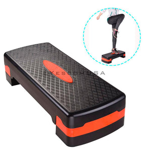 (UK) 68x28x15 CM Fitness Aerobic Stepper Adjustable Cardio Step Board