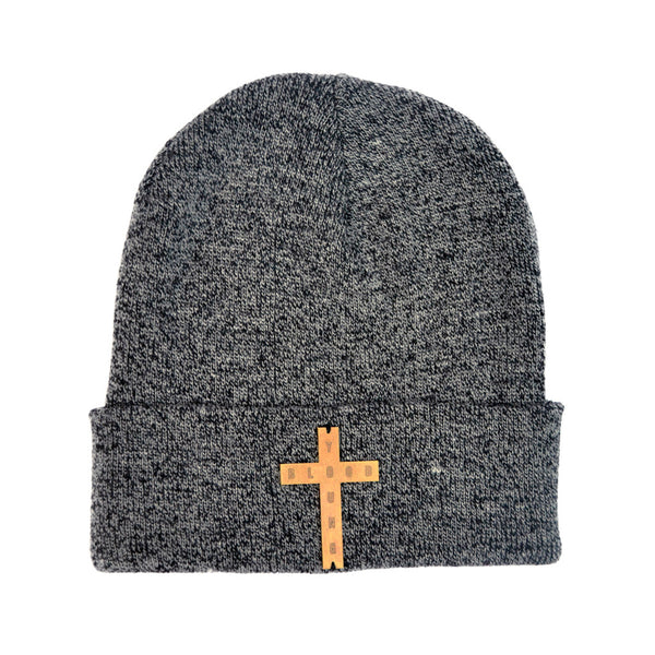 GREY & BLACK MIX BRASS CROSS BEANIE