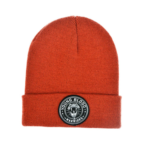 BURNT ORANGE SNAKE PATCH BEANIE