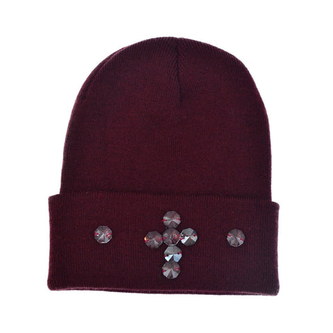 BURGUNDY HEMATITE CRYSTAL CROSS BEANIE