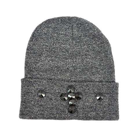 GREY & WHITE MIX HEMATITE CRYSTAL CROSS BEANIE