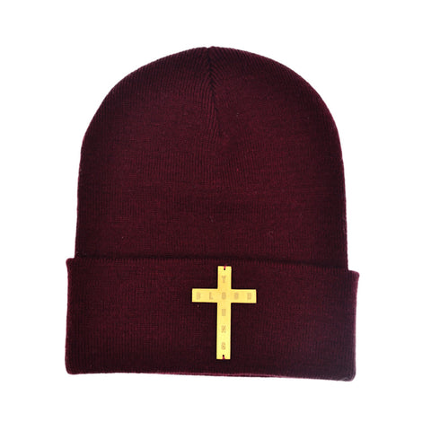 BURGUNDY BRASS CROSS BEANIE