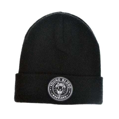 BLACK SNAKE PATCH BEANIE
