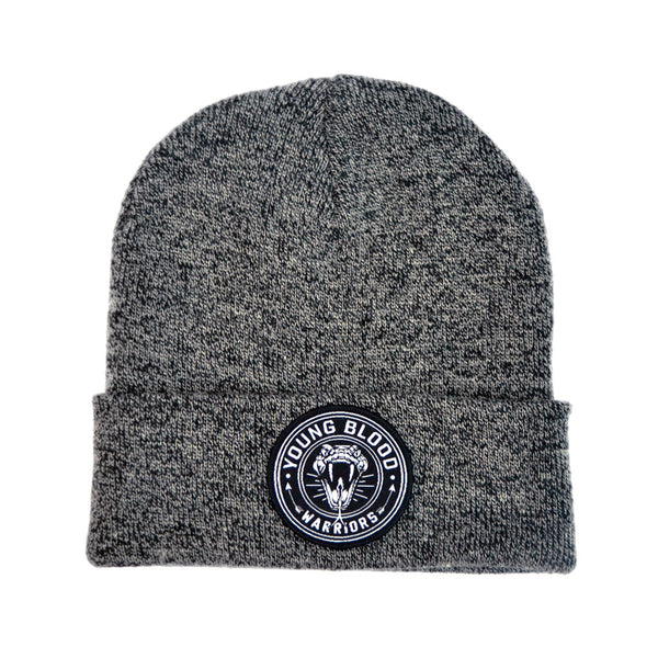 GREY & BLACK MIX SNAKE PATCH BEANIE