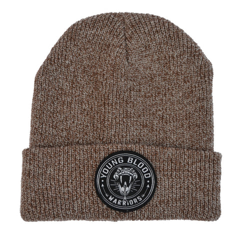 BROWN & GREY MIX SNAKE PATCH BEANIE