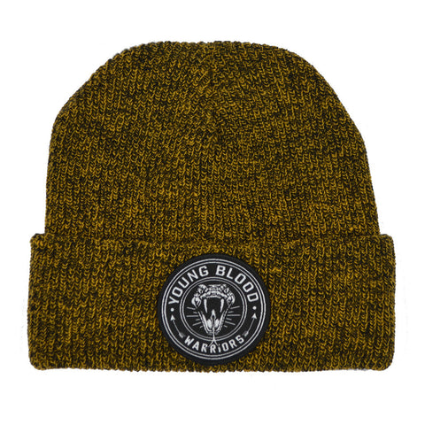 MUSTARD & BLACK MIX SNAKE PATCH BEANIE