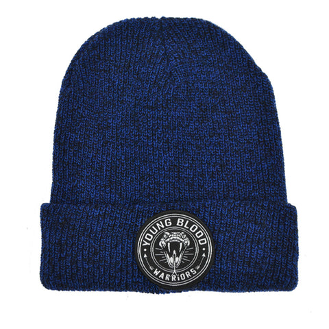 BLUE & BLACK MIX SNAKE PATCH BEANIE