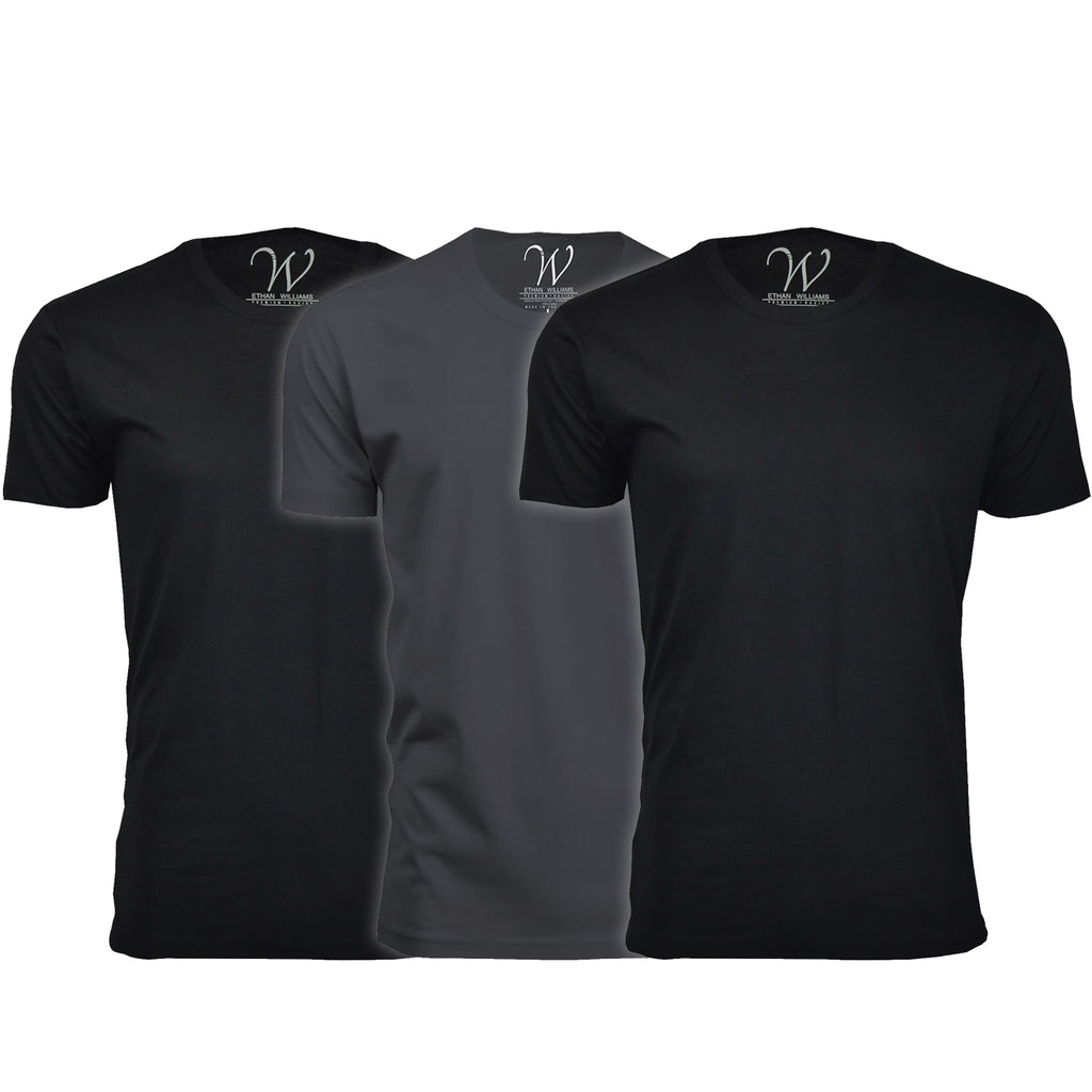 EWC 100B2HM1 3-Pack Ultra Soft Sueded Crew Neck T-shirt - Black / Black / Heavy Metal