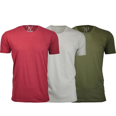EWC 100BGS 3-Pack Ultra Soft Sueded Crew Neck T-shirt - Burgundy / Sand / Military Green