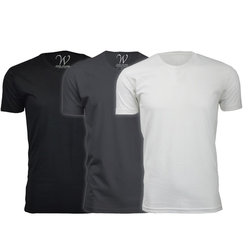 EWC 100BHMW 3-Pack Ultra Soft Sueded Crew Neck T-shirt - Black / Heavy Metal / White