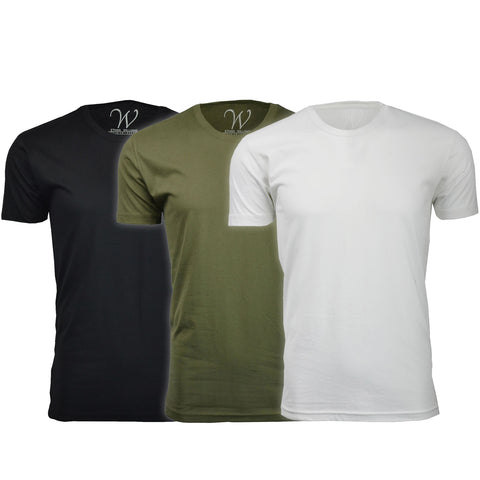 EWC 100BMGW 3-Pack Ultra Soft Sueded Crew Neck T-shirt - Black / Military Green / White