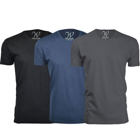 EWC 100BNHM 3-Pack Ultra Soft Sueded Crew Neck T-shirt - Black / Navy / Heavy Metal
