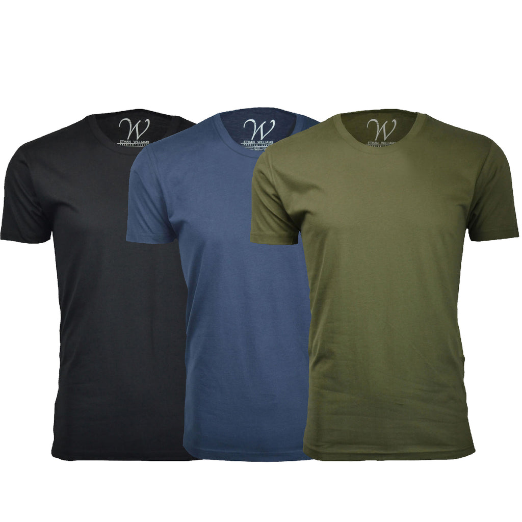 EWC 100BNMG 3-Pack Ultra Soft Sueded Crew Neck T-shirt - Black / Navy / Military Green