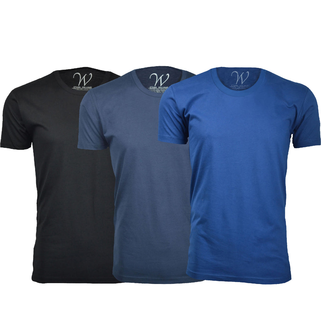 EWC 100BNRB 3-Pack Ultra Soft Sueded Crew Neck T-shirt - Black / Navy / Royal Blue